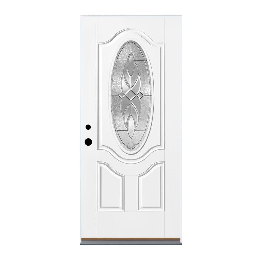Therma-Tru Benchmark Doors Varissa 2-Panel Insulating Core Oval Lite Right-Hand Inswing White Fiberglass Primed Prehung Entry Door (Common: 36-in x 80-in; Actual: 37.5-in x 81.5-in)