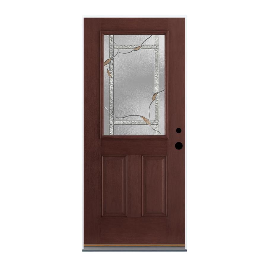 Therma-Tru Benchmark Doors Ashleigh 2-Panel Insulating Core Half Lite Left-Hand Inswing Dark Mahogany Fiberglass Stained Prehung Entry Door (Common: 36-in x 80-in; Actual: 37.5-in x 81.5-in)