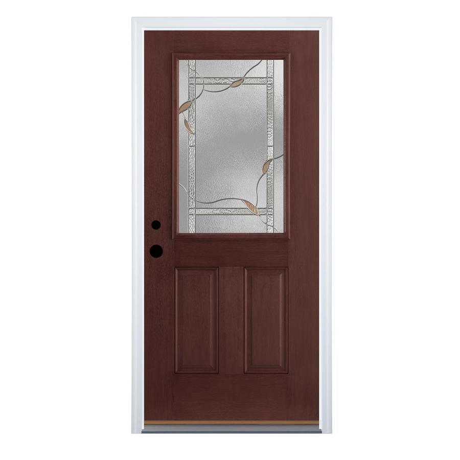 Therma-Tru Benchmark Doors Delano 2-Panel Insulating Core Half Lite Right-Hand Inswing Dark Mahogany Fiberglass Stained Prehung Entry Door (Common: 36-in x 80-in; Actual: 37.5-in x 81.5-in)