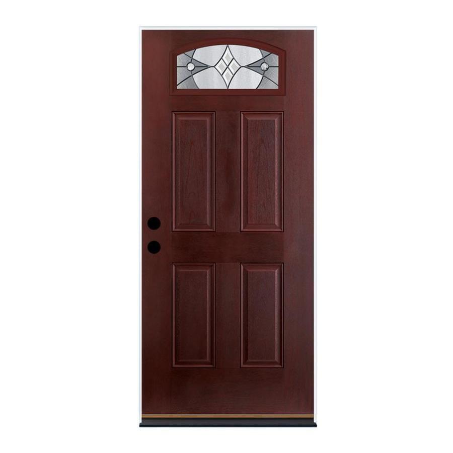 Therma-Tru Benchmark Doors Delano 4-Panel Insulating Core Morelight Left-Hand Outswing Dark Mahogany Fiberglass Stained Prehung Entry Door (Common: 36-in x 80-in; Actual: 37.5-in x 80.5-in)