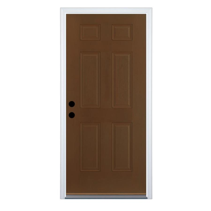 Therma-Tru Benchmark Doors 6-Panel Insulating Core Right-Hand Inswing Walnut Fiberglass Stained Prehung Entry Door (Common: 36-in x 80-in; Actual: 37.5-in x 81.5-in)