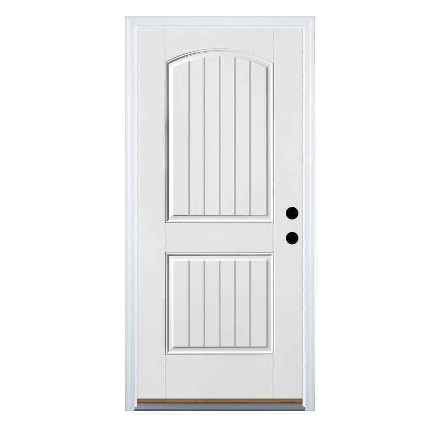 Therma-Tru Benchmark Doors 2-Panel Insulating Core Left-Hand Inswing Fiberglass Unfinished Prehung Entry Door (Common: 36-in x 80-in; Actual: 37.5-in x 81.5-in)