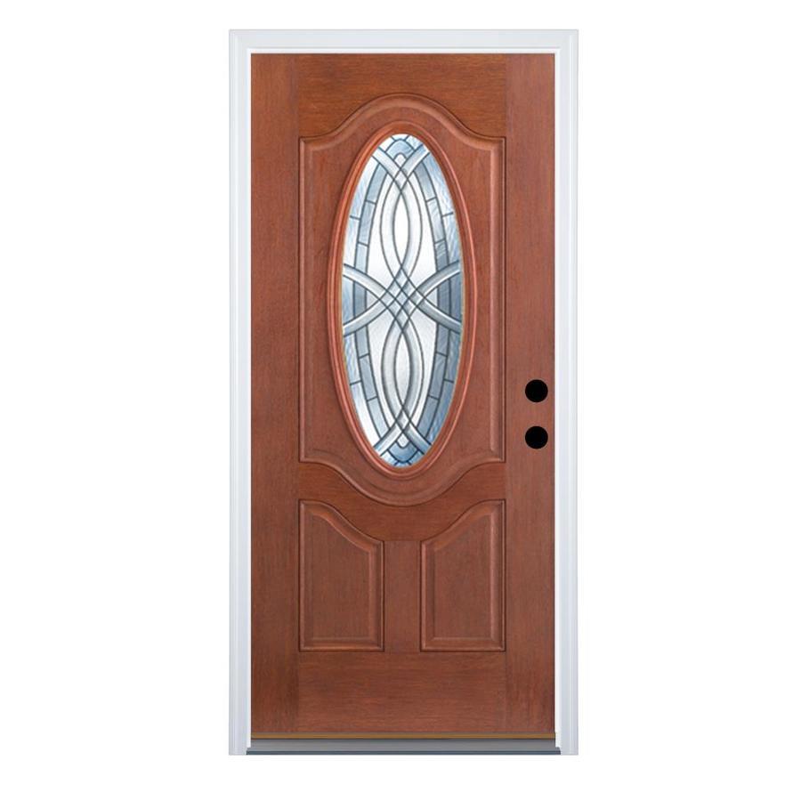 Therma-Tru Benchmark Doors Terracourt 2-Panel Insulating Core Oval Lite Left-Hand Inswing Dark Mahogany Fiberglass Stained Prehung Entry Door (Common: 36-in x 80-in; Actual: 37.5-in x 81.5-in)
