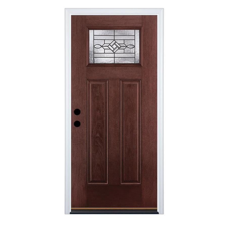 Therma-Tru Benchmark Doors Craftsman Insulating Core Craftsman 1-Lite Right-Hand Inswing Dark Mahogany Fiberglass Stained Prehung Entry Door (Common: 36-in x 80-in; Actual: 37.5-in x 81.5-in)