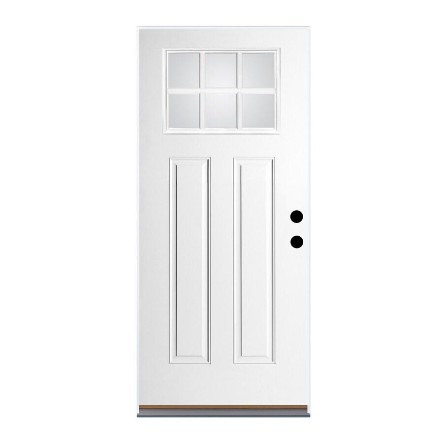 Therma-Tru Benchmark Doors Craftsman Insulating Core Craftsman 6-Lite Left-Hand Inswing Fiberglass Unfinished Prehung Entry Door (Common: 36-in x 80-in; Actual: 37.5-in x 81.5-in)