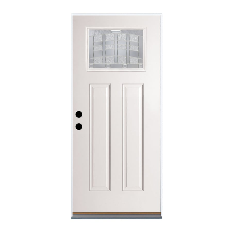 Therma-Tru Benchmark Doors Emerson Craftsman Insulating Core Craftsman 1-Lite Left-Hand Outswing Fiberglass Unfinished Prehung Entry Door (Common: 36-in x 80-in; Actual: 37.5-in x 80.5-in)