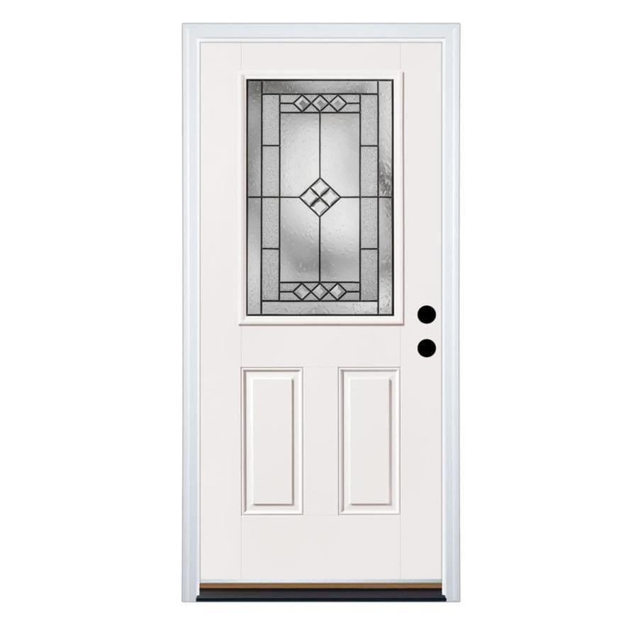 Therma-Tru Benchmark Doors 2-Panel Insulating Core Half Lite Left-Hand Inswing Fiberglass Unfinished Prehung Entry Door (Common: 36-in x 80-in; Actual: 37.5-in x 81.5-in)