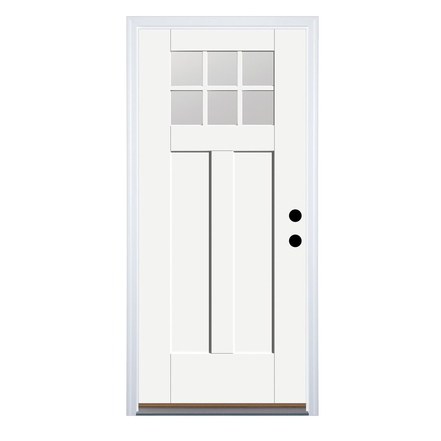 Therma Tru Benchmark Doors 32 In X 80 In Fiberglass Craftsman Left Hand Inswing Ready To Paint Unfinished Prehung Single Front Door Brickmould Included In The Front Doors Department At Lowes Com