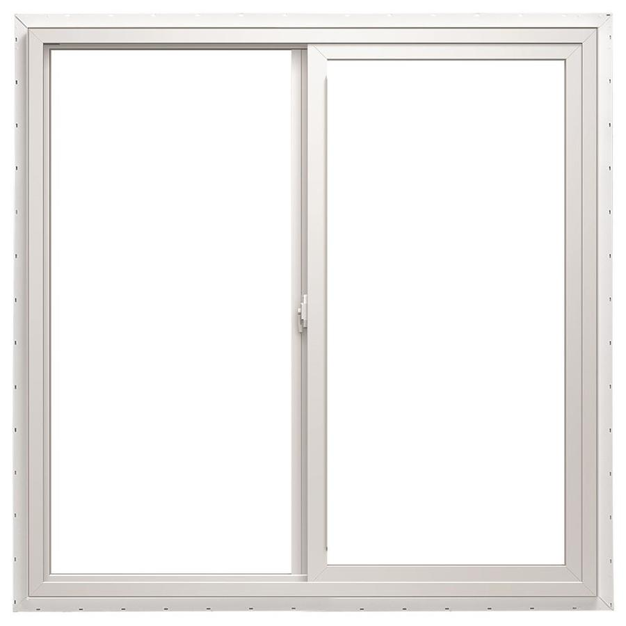 Pella 48X48 ThermaStar by Pella Sliding Window High Altitude Vinyl 10 Series Clear Insulated Glass White with Screen
