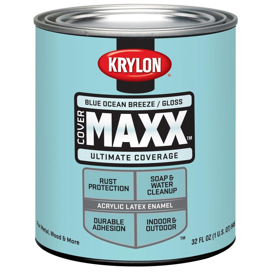 Krylon CoverMaxx Blue Ocean Breeze Gloss Latex Enamel Interior/Exterior Paint and Primer in One (Actual Net Contents: 32-fl oz)