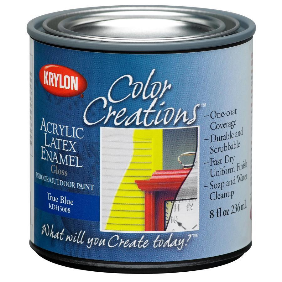 Krylon CoverMaxx True Blue Gloss Latex Enamel Interior/Exterior Paint and Primer in One (Actual Net Contents: 8-fl oz)