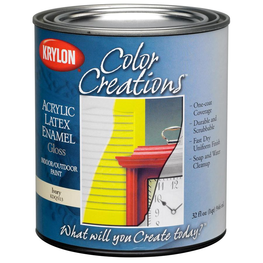 Krylon CoverMaxx Ivory Gloss Latex Enamel Interior/Exterior Paint and Primer in One (Actual Net Contents: 32-fl oz)