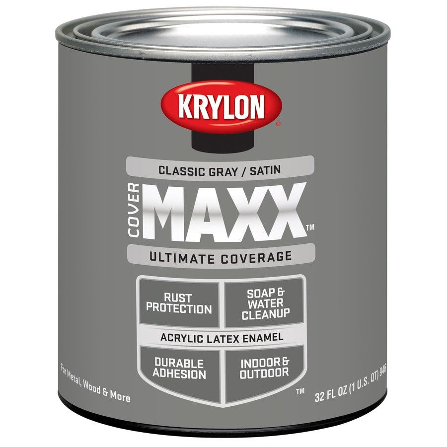 Krylon CoverMaxx Classic Gray Satin Latex Enamel Interior/Exterior Paint and Primer in One (Actual Net Contents: 23-fl oz)