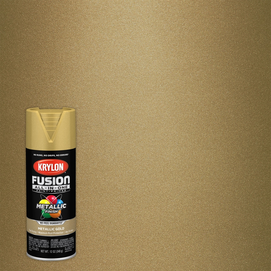 Krylon FUSION ALL-IN-ONE Gloss Gold Metallic Spray Paint and Primer In One  (Actual Net Contents: 6-oz)