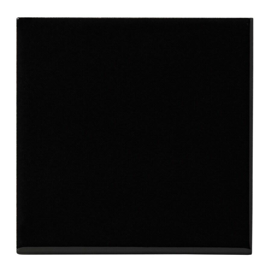 United States Ceramic Tile 4-in x 4-in Black Ceramic Wall Tile (Actuals 4-in x 4-in)