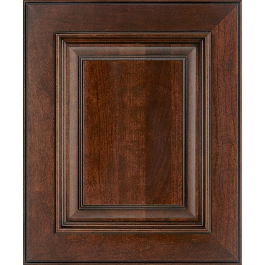 Schuler Cabinetry Marietta 17.5-in x 14.5-in Ginger Snap Glazed Ebony Cherry Square Cabinet Sample
