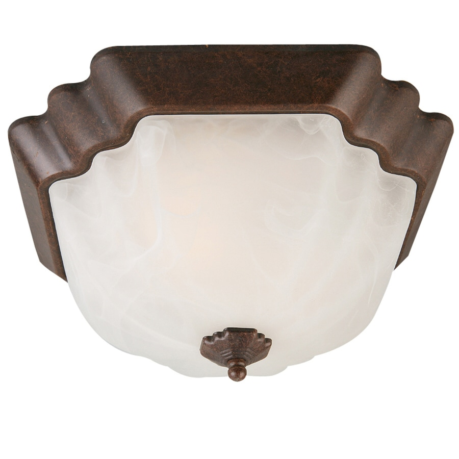 Portfolio 13-in W Rustic Brown Ceiling Flush Mount Light