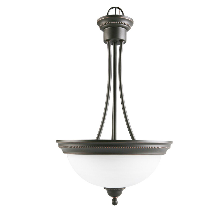 Portfolio Kingsmere 14.25-in Oil-Rubbed Bronze Craftsman Single Alabaster Glass Bowl Pendant