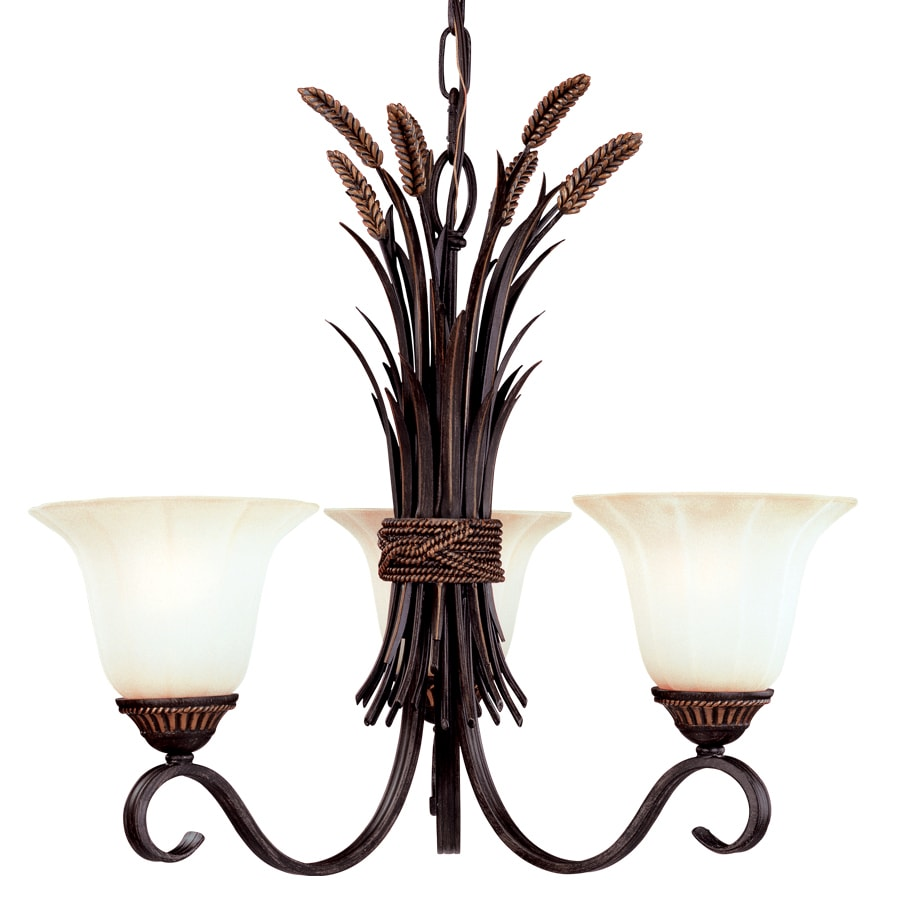 Portfolio 22.62-in 3-Light Antique Bronze Tinted Glass Standard Chandelier