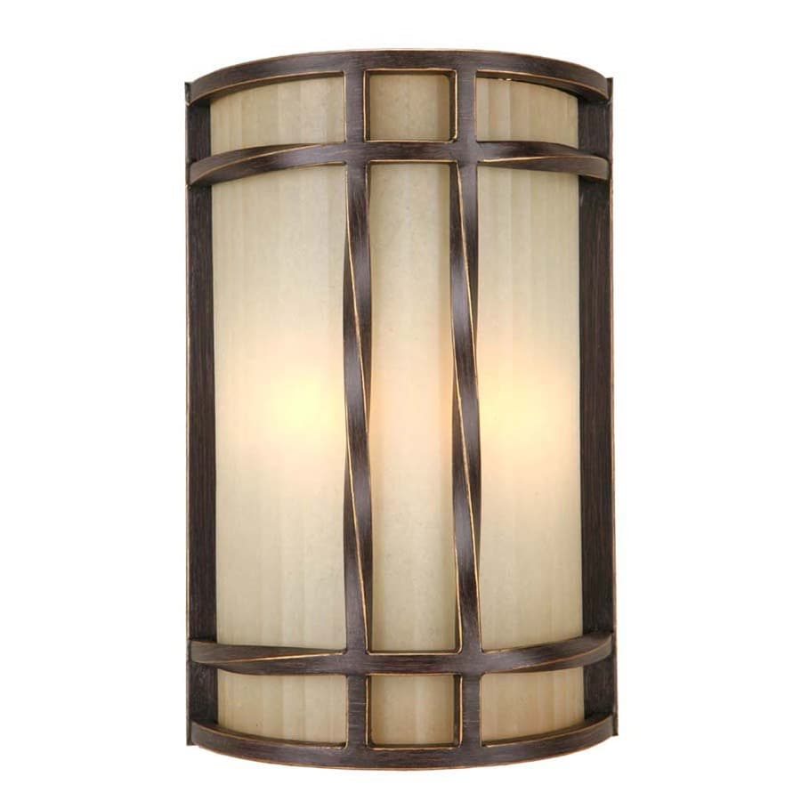 Wall Sconces Lowes : Shop Portfolio 8-in W 2-Light Antique Bronze Pocket Hardwired Wall Sconce at Lowes.com