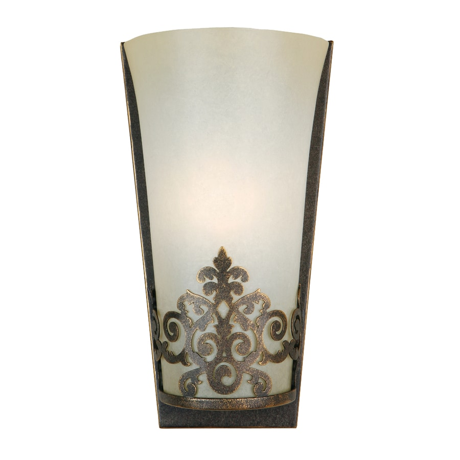 Shop Portfolio 5.25-in W 1-Light Golden Bronze Pocket Hardwired Wall Sconce at Lowes.com