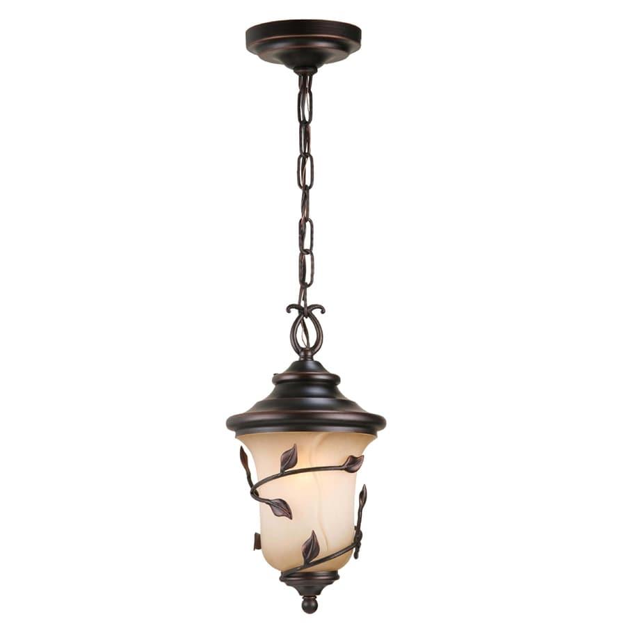 allen + roth Eastview 15.25-in Dark Oil-Rubbed Bronze Outdoor Pendant Light