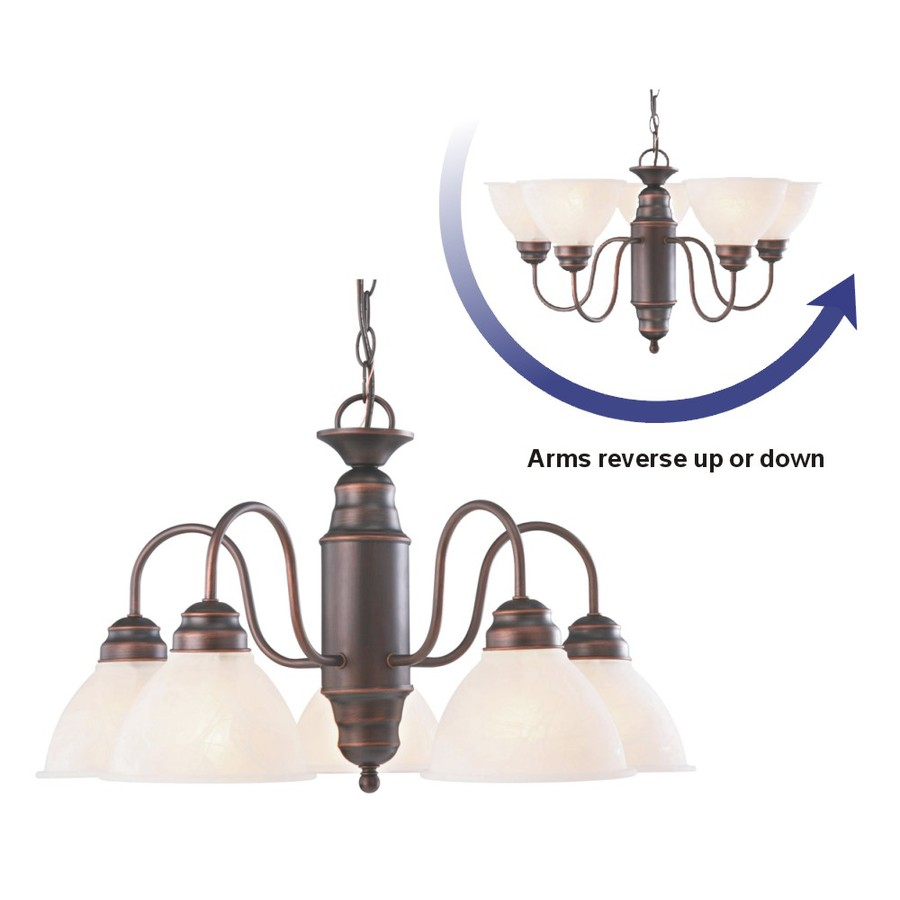 Portfolio 23.37-in 5-Light Oil-Rubbed Bronze Country Cottage Alabaster Glass Shaded Chandelier