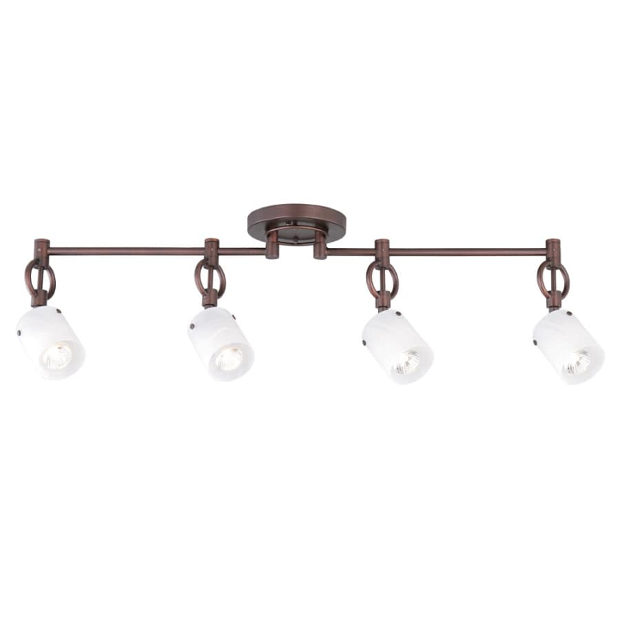 allen + roth 4-Light 32.87-in Dark Oil-Rubbed Bronze Dimmable Flush-Mount Fixed Track Light Kit
