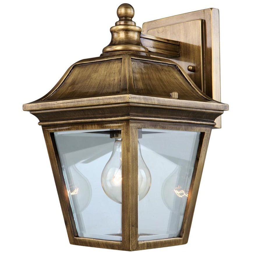 Portfolio 12-in Antique Brass Outdoor Wall Light