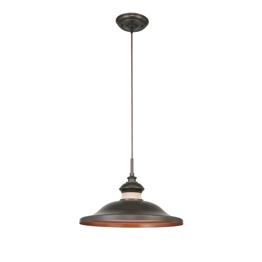 Portfolio 16-in Aged Bronze Barn Single Warehouse Pendant