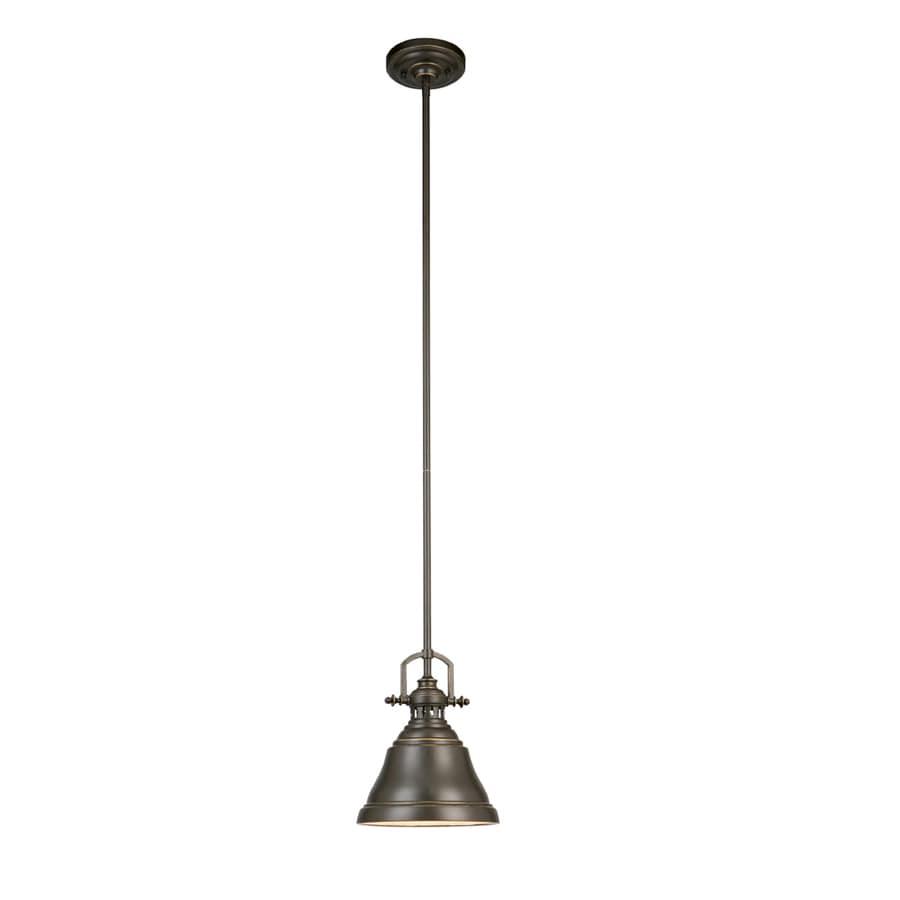 Industrial Bell Pendant Light: Shop Allen + Roth 8-in Bronze Industrial Mini Bell Pendant
