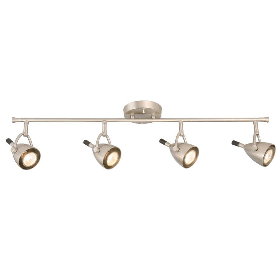 Style Selections 4-Light 32.875-in Brushed Nickel Flush Mount Fixed Track Light Kit