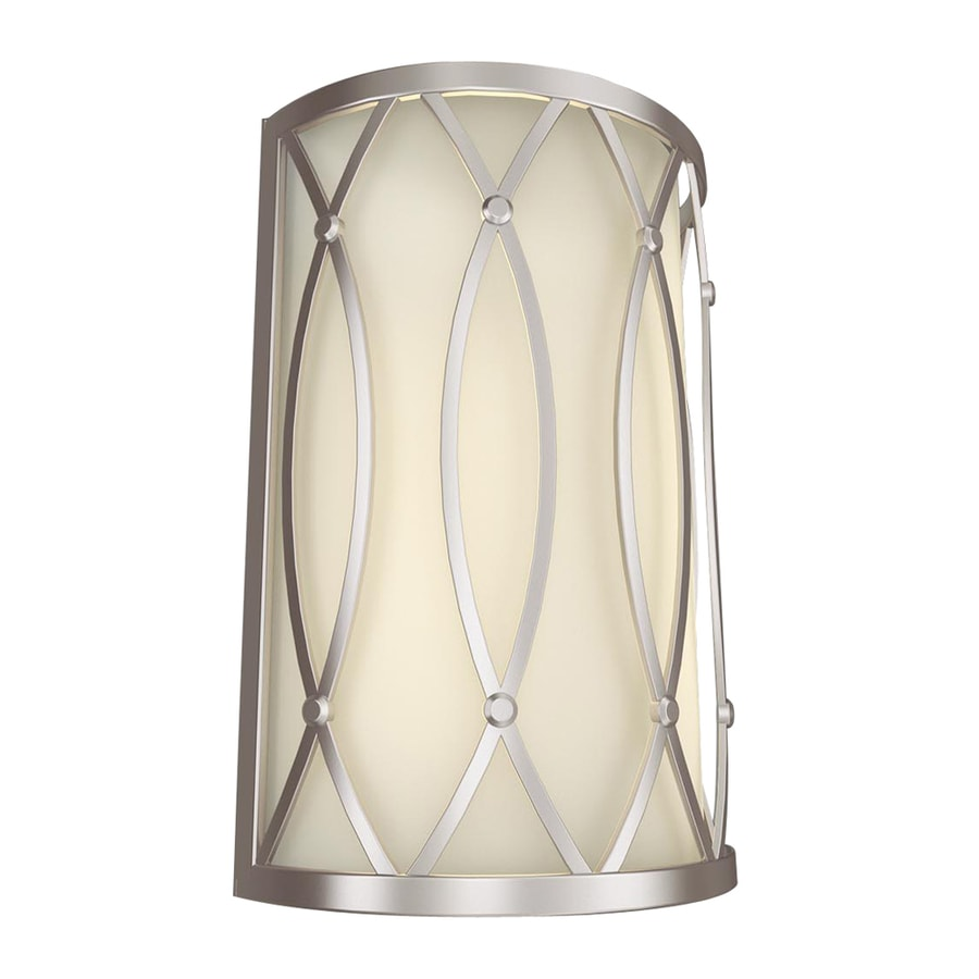 allen + roth 7.87-in W 2-Light Brushed Nickel Pocket Hardwired Wall Sconce
