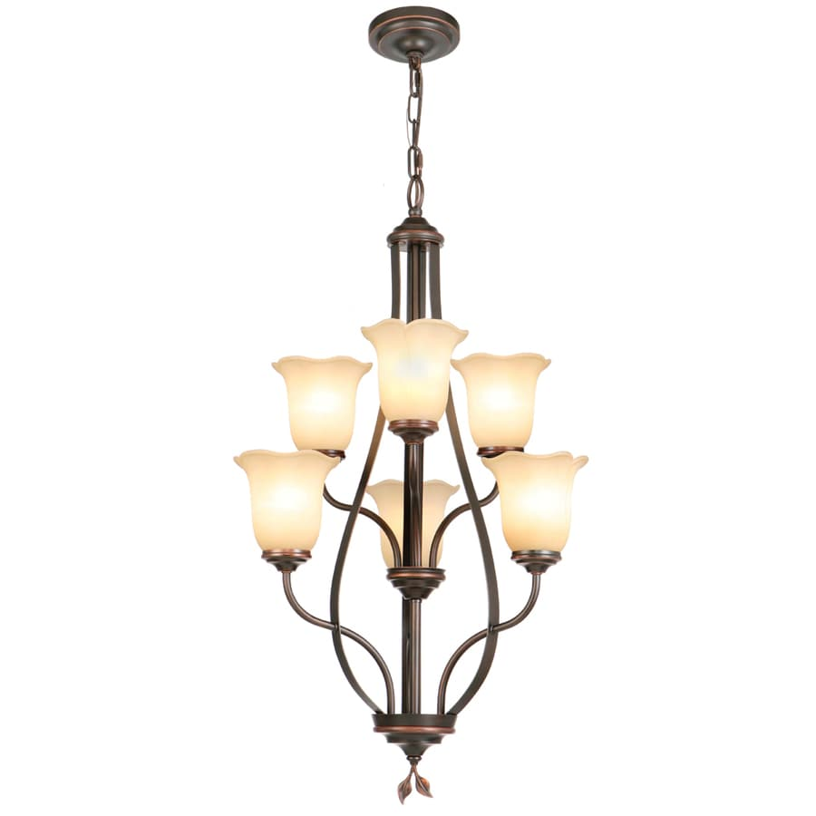 allen + roth Eastview 22.5-in 6-Light Dark Oil-Rubbed Bronze Tinted Glass Standard Chandelier