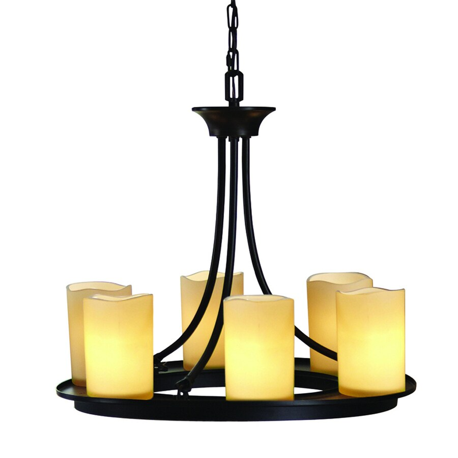 allen + roth Harpwell 20.08-in 6-Light Oil-Rubbed Bronze Mediterranean Tinted Glass Shaded Chandelier