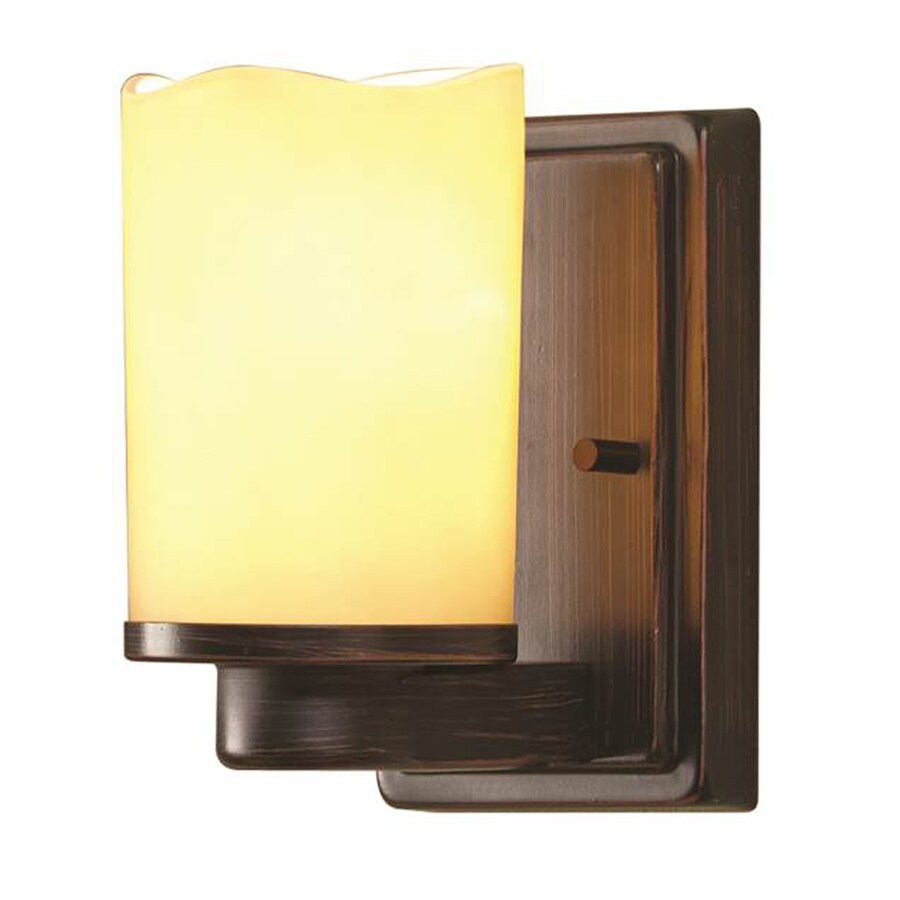 Shop Allen Roth Harpwell 4 5 In W 1 Light Oil Rubbed Bronze Arm Hardwired Wall Sconce At