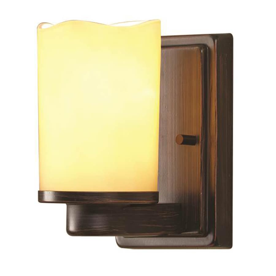 Shop allen + roth Harpwell 4.5-in W 1-Light Oil-Rubbed Bronze Arm Hardwired Wall Sconce at Lowes.com