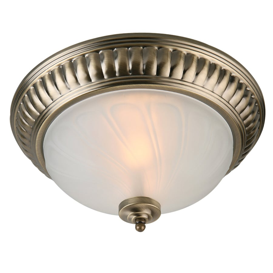 Portfolio 13.75-in W Antique Brass Ceiling Flush Mount Light