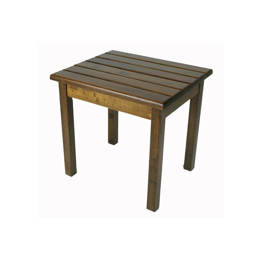 Garden Treasures 19-in x 16-in Natural Wood Rectangle Patio Side Table