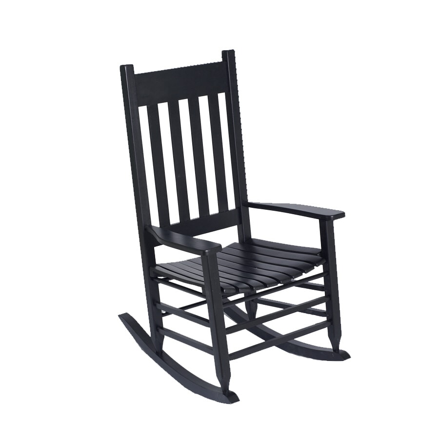 Garden Treasures Black Slat Porch Rocker
