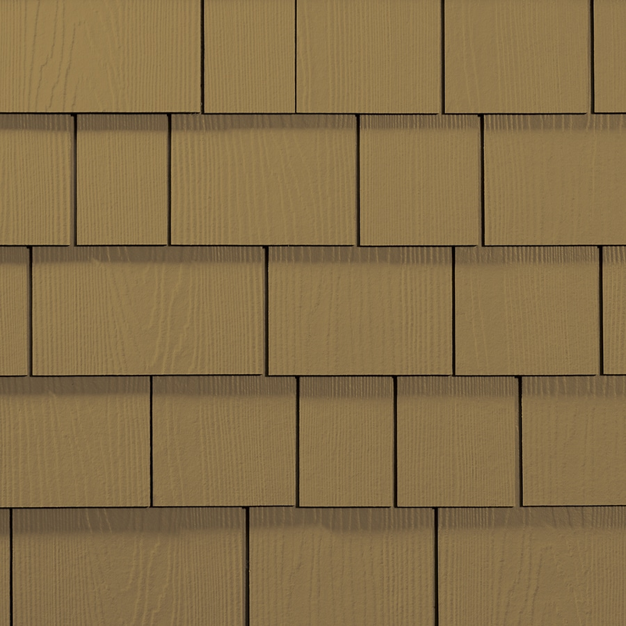 James Hardie Hardieshingle 15.25-in x 6.738-in Primed Tuscan Gold Woodgrain Fiber Cement Shingle Siding
