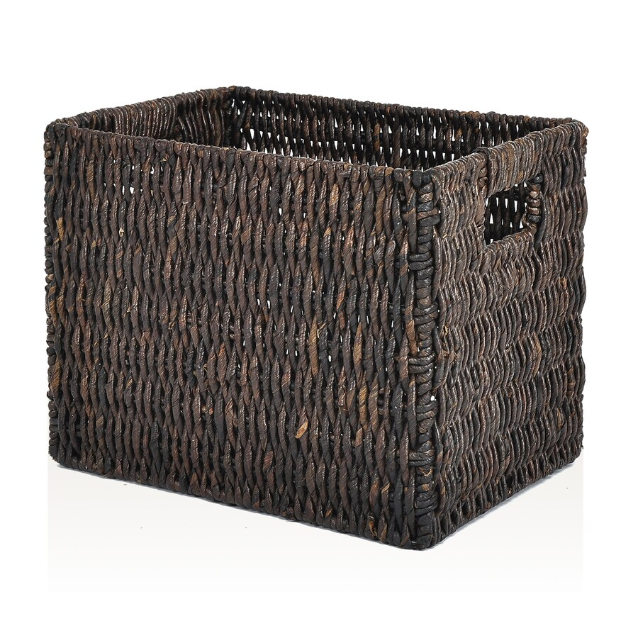 allen + roth 10.7-in W x 11-in H x 14.25-in D Stained Maize Milk Crate