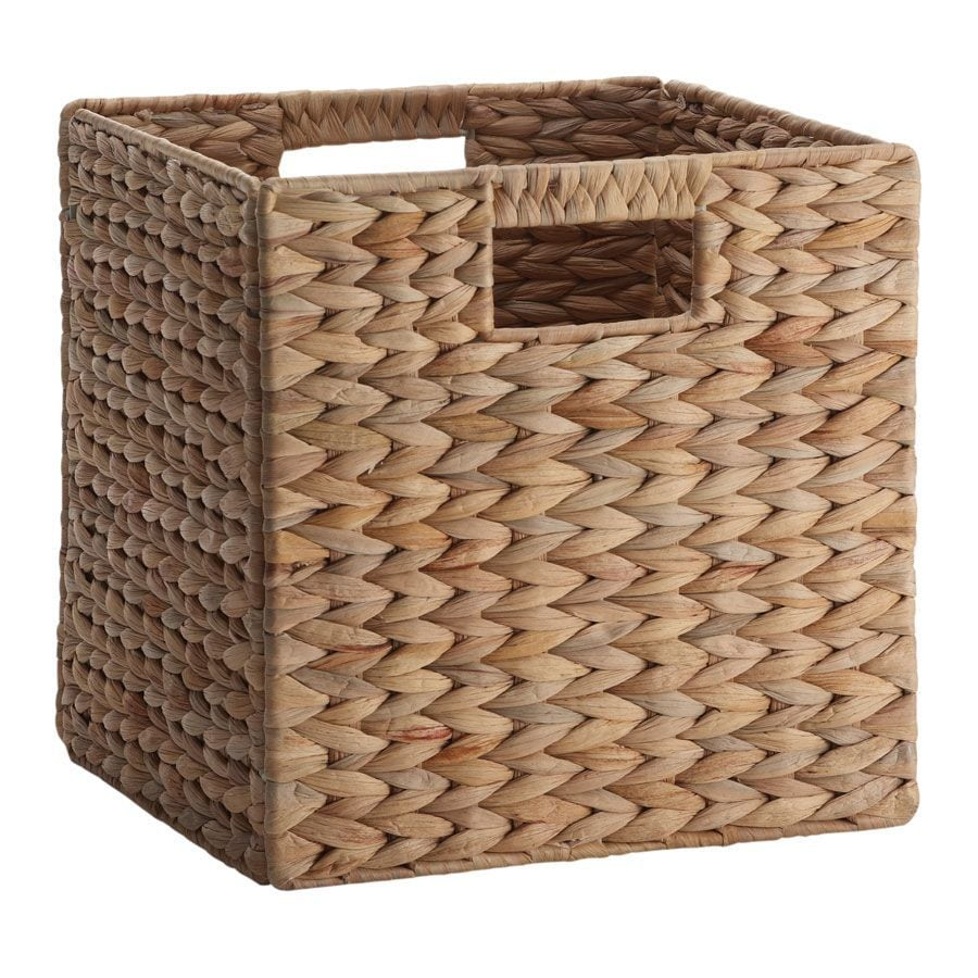 Basketville 10.7-in W x 10.7-in H x 10.7-in D Natural Water Hyacinth Milk Crate