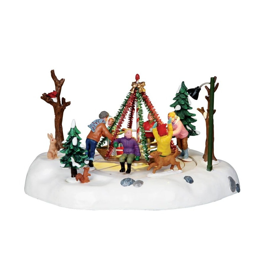 Carole Towne Christmas Resin Battery Operated 4.5-Volt Lighted Merry-Go-Round