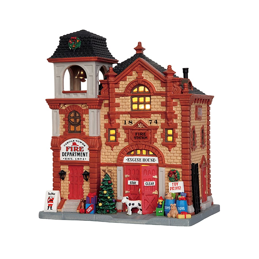 Carole Towne Christmas Porcelain Lighted Fire Department Christmas Collectible
