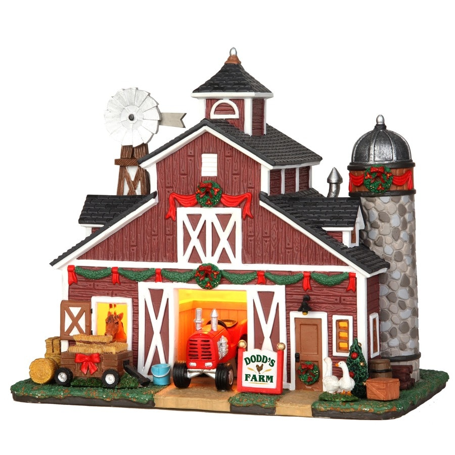 Carole Towne Christmas Porcelain Lighted Dodd's Farm Christmas Collectible