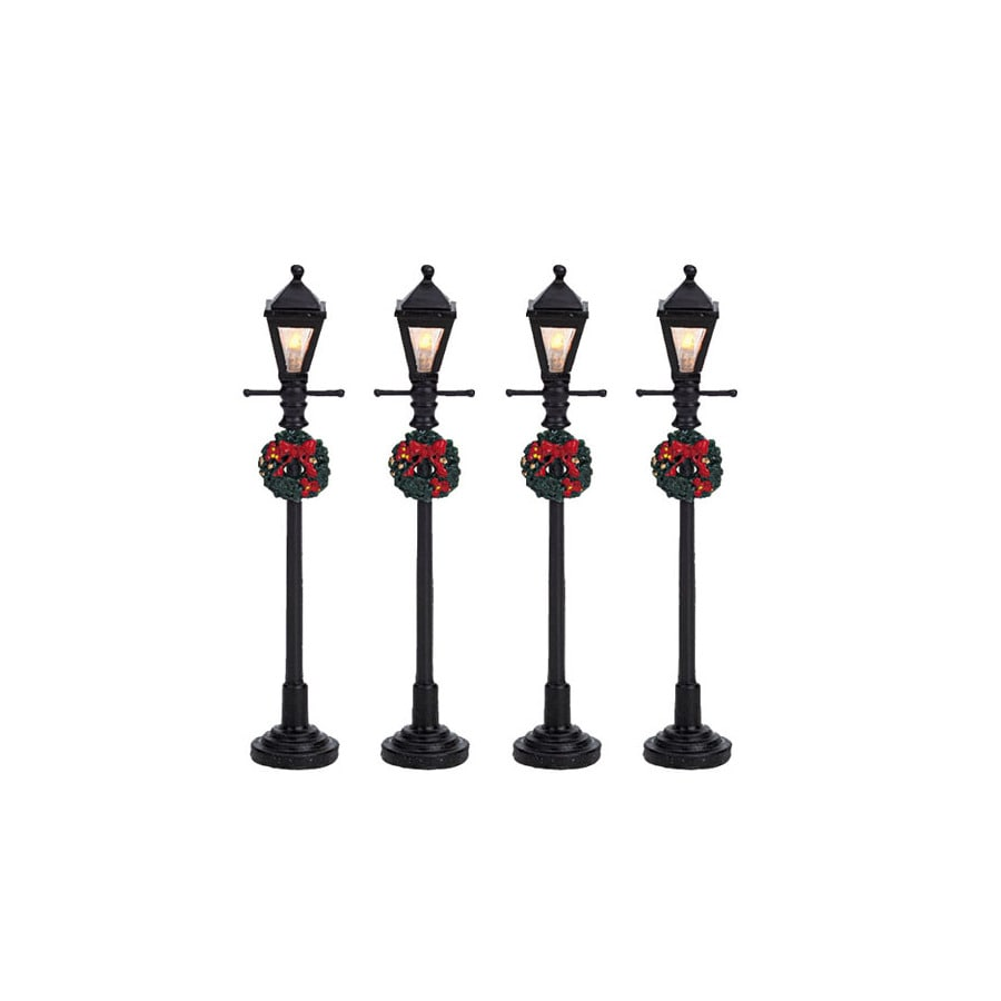 Carole Towne Christmas 4-Piece Plastic Lighted Battery Operated Gas Lantern Street Lamp
