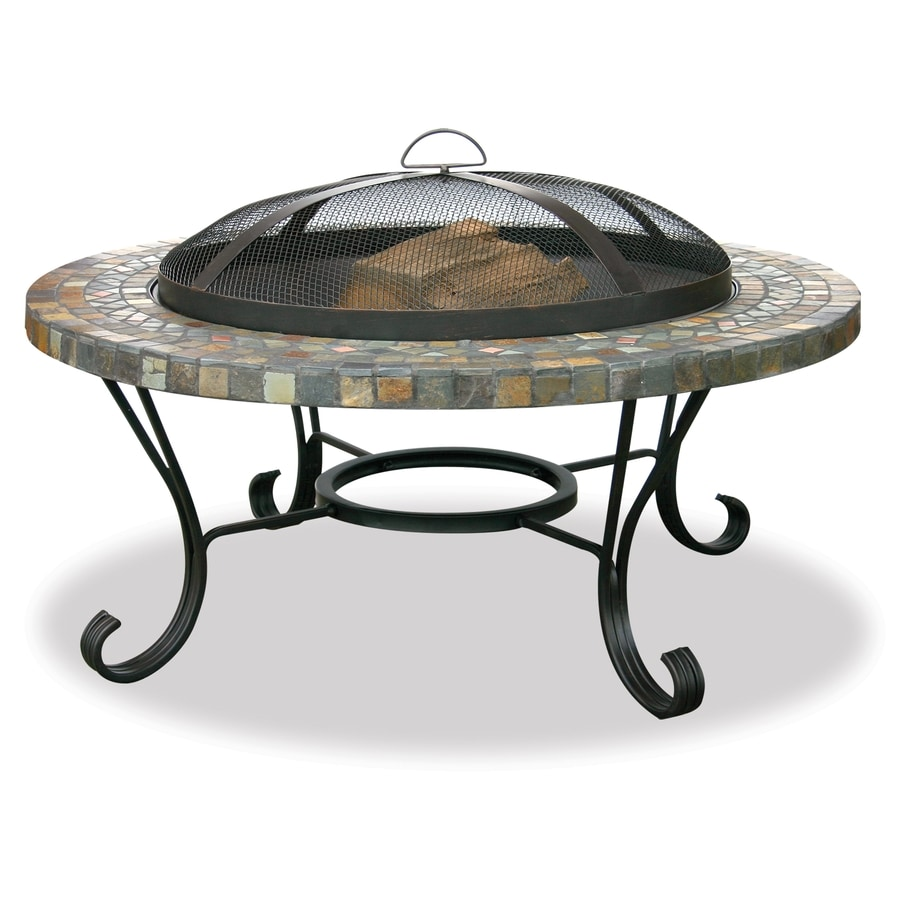 UniFlame Bradford 34-in W Black Steel Wood-Burning Fire Pit