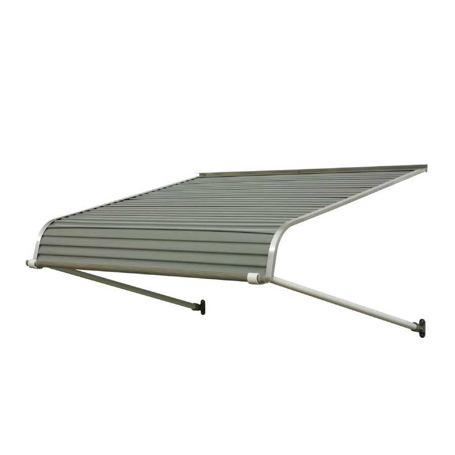 NuImage Awnings 60-in Wide x 42-in Projection Graystone Solid Open Slope Door Awning