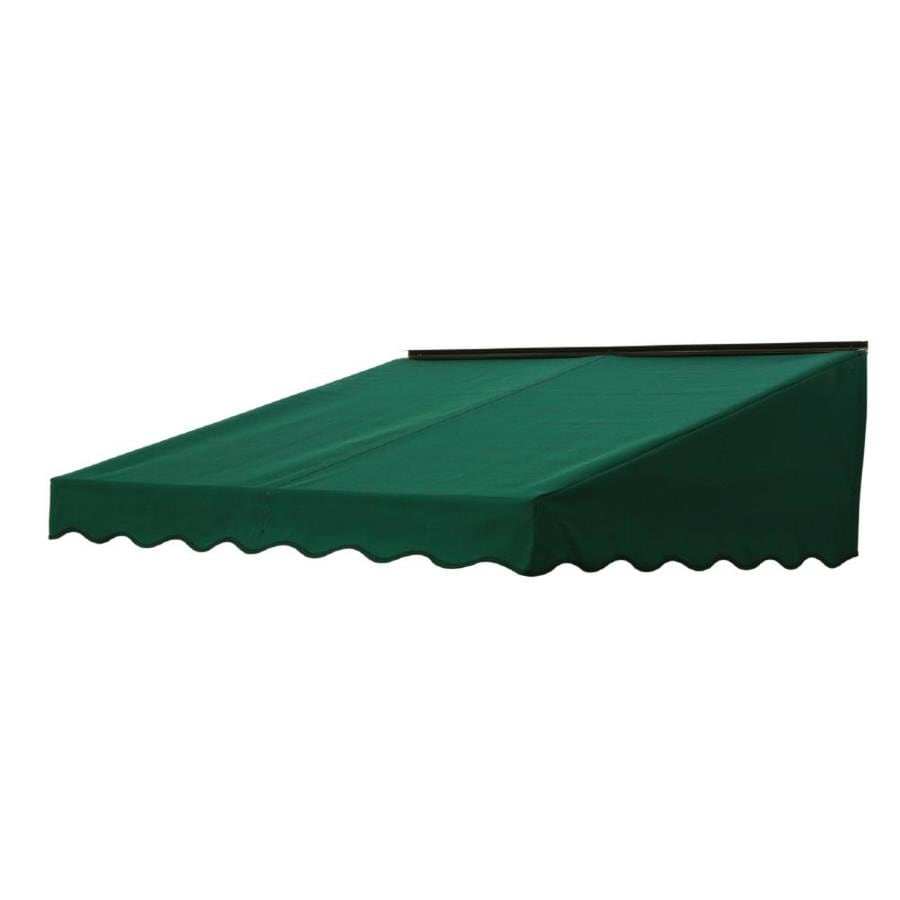 NuImage Awnings 84-in Wide x 41-in Projection Hunter Green Solid Slope Door Awning